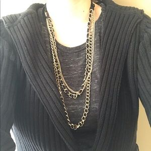 Gold Chain Ribbon Layered Necklace